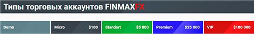 Типы торговых счетов брокера FinmaxFx
